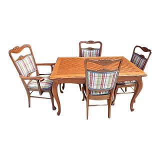 French Country Oak Parquetry Top Dining Table With 4 Matching Chairs
