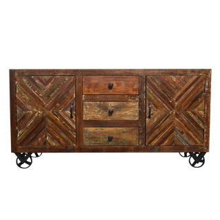 Reclaimed Wood Sideboard on Iron Wheels