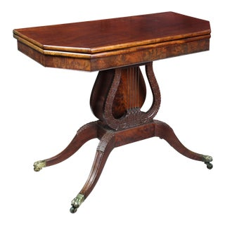 Carved Mahogany Card Table with Oversized Lyre