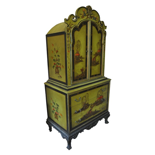 1930s Pear Green Chinoiserie Armoire - Image 2 of 5