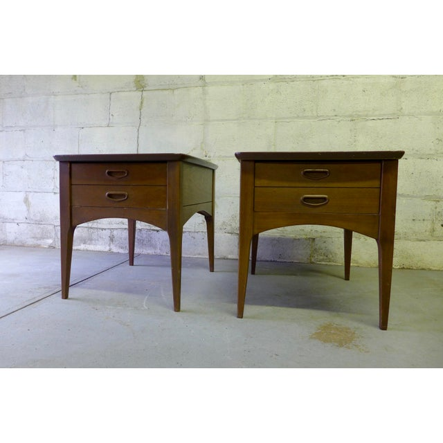 Image of Mid Century Modern Walnut Nightstands - A Pair