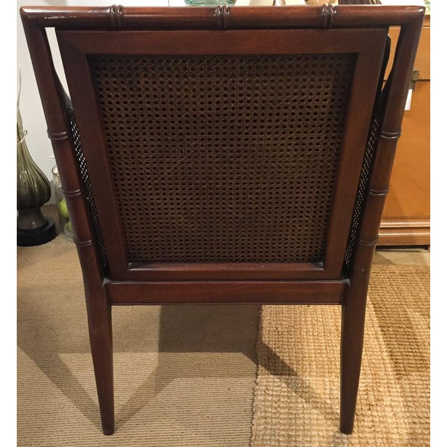 Mid Century Leather Faux Bamboo Chair & Ottoman - Image 5 of 10
