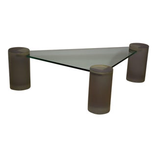 Glass and Lucite Triangle Coffee Table
