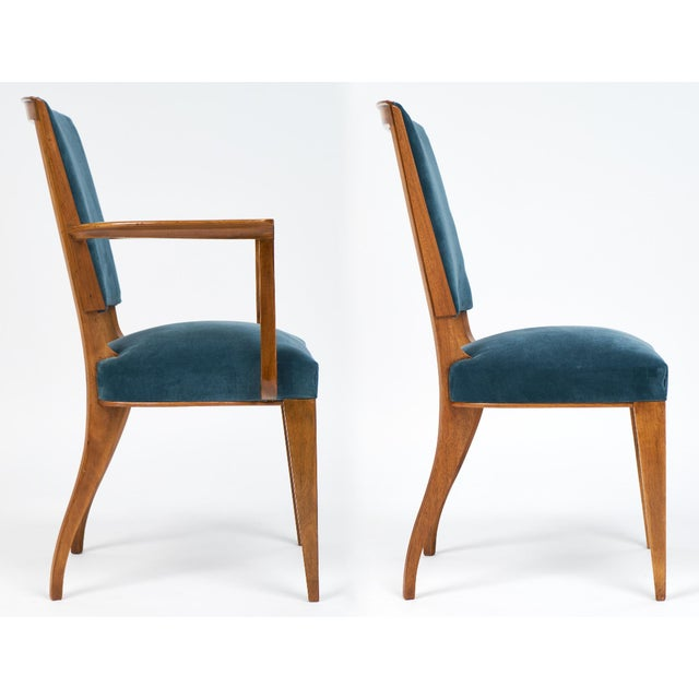 French Art Deco Cherrywood Dining Chairs- Set of 6 - Image 6 of 10