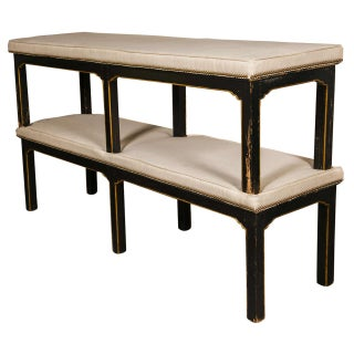 Jansen Ebonized & Distressed Benches - A Pair