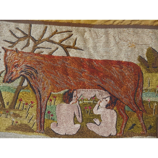 Antique 1906 Romulus/Remus Embroidery Wall Art - Image 4 of 5
