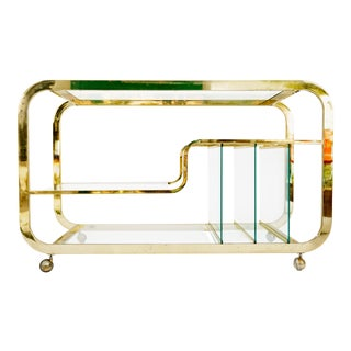 Milo Baughman Brass & Glass Bar Cart Console Table