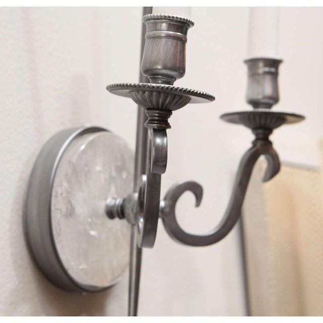 Pewter and Rock Crystal Sconces - Image 7 of 9