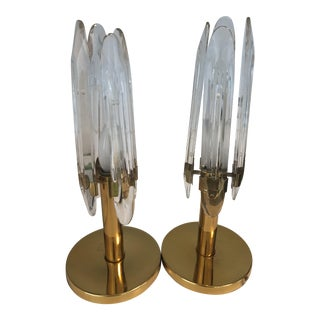 Sciolari Brass & Etched Glass Table Lamps - A Pair