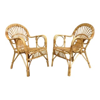 1950's Petite French Modern Rattan Chairs - Pair