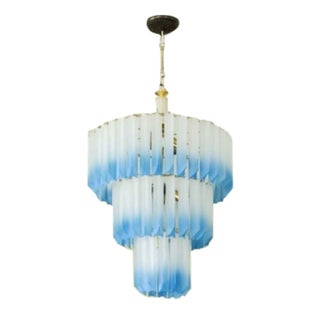1960s Italian Frosted Lucite Prism Chandelier