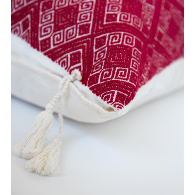 Red Diamond Handwoven Mexican Pillow - Image 3 of 4