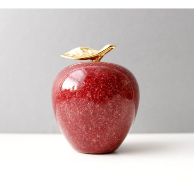 Image of Vintage Marble & Brass Apple Paperweight