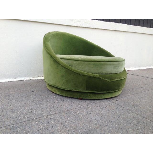 Milo Baughman Emerald Green Swivel Loveseat Chairish