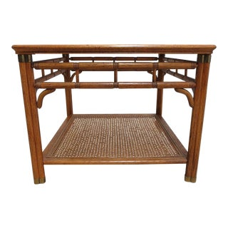 Mid-Century Faux Bamboo Campaign End Table