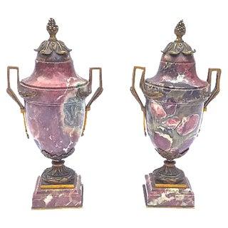 Antique Marble & Brass Urns - A Pair
