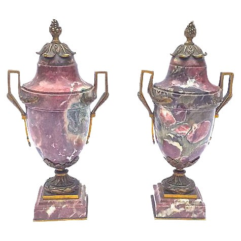 Antique Marble & Brass Urns - A Pair - Image 1 of 7