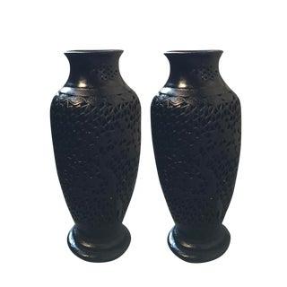 Asian Black Plaster Urns - A Pair