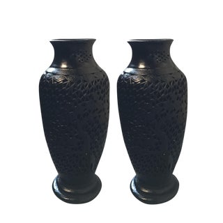 Asian Black Plaster Urns - A Pair