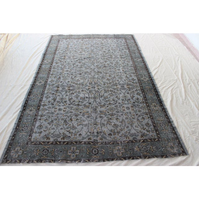 Image of Vintage Gray Turkish Over-Dyed Rug - 6' x 9'3""
