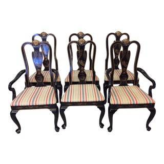 Drexel Heritage Black Lacquer Asian Style Dining Chairs - A set of 6