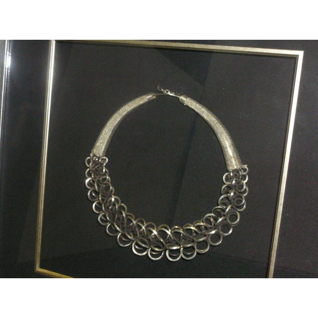 Image of Chinese Framed Miao Tribe Silver Necklace Wall Art
