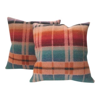 Pair of 19th Century Horse Blanket Pillows