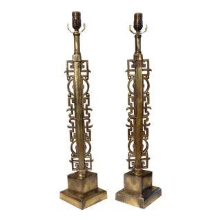 Asian Modern Brass Lamps - A Pair