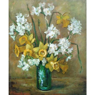 Daffodils in a Green Vase Still Life