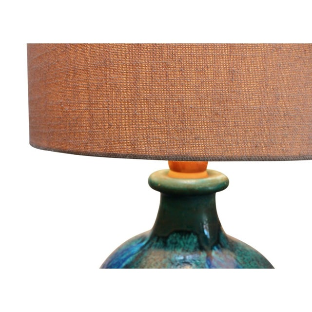 Image of Large Blue Pottery Lamp