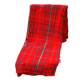 Vintage Long Red Tartan Rectangular Tablecloth