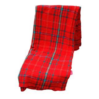 Vintage Long Red Tartan Rectangular Tablecloth