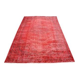 Red Overdyed Turkish Oushak Rug - 5′4″ × 8′5