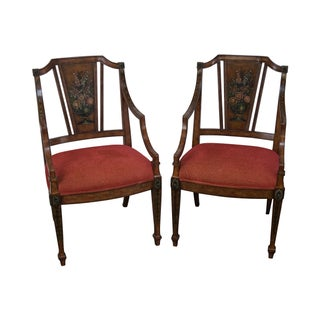Hand Painted Adams Style Arm Chairs - Pair