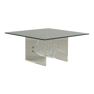 Square Slab Ended Lucite Coffee Table with Glass Top, 1970s