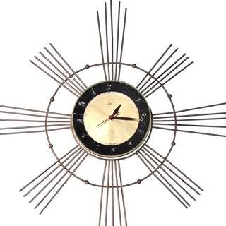 Vintage 1960s Starburst Clock