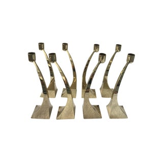 Set of 8 Curved Gold Candle Holders