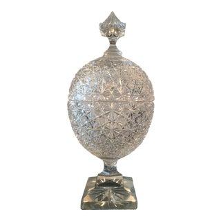 Vintage Russian Cut Crystal Pedestal Compote