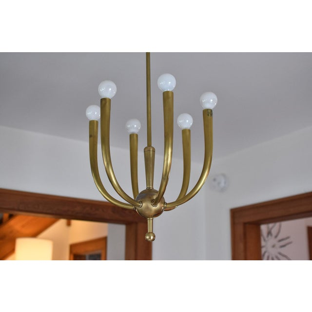 Brass Chandelier With Six Lights - Image 7 of 8