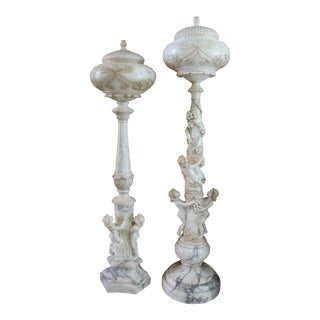 Italian Alabaster Marble Figural Torchiere Lamps – A Pair