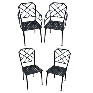Faux Bamboo Set of 4 Aluminum Patio Dining Chairs