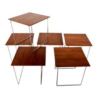 Set of 6 Teak Nesting Tables Poul Nørreklit for GP Farum Magic Puzzle Cube