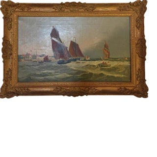 "19th Century English ""Sailboats on Rough Waters"" Oil on Canvas Painting"