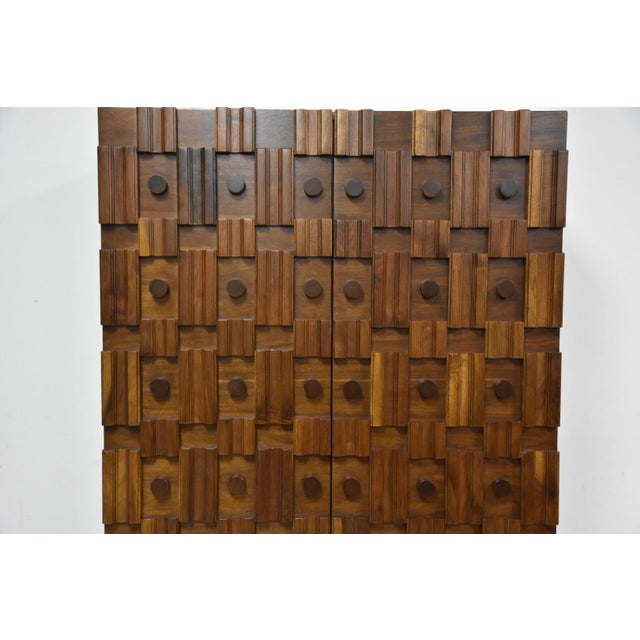 Brutalist Walnut Armoire - Image 9 of 11