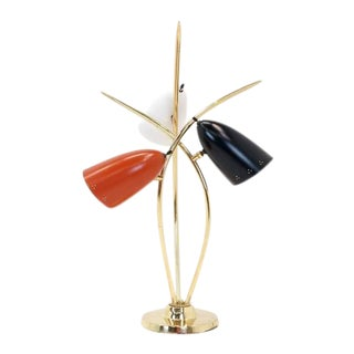 Lightolier Three-Arm Three Cone Brass Table Lamp