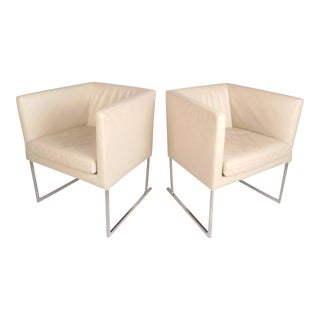 Mid-Century Modern Cube Lounge Chairs in the Style of Milo Baughman