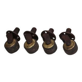 Set of 4-Early 20th c. Leather, Steel and Brass Casters c. 1940s