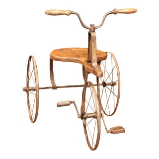 19th Century French Iron and Wood Tricycle in Wonderful Working Condition