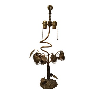 Vintage Brass Plant Table Lamp