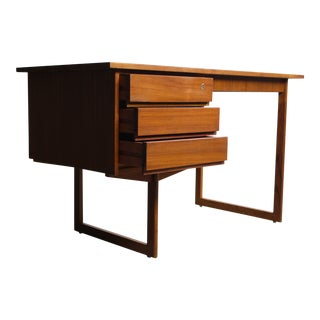 Architectural Danish Modern Desk in Teak